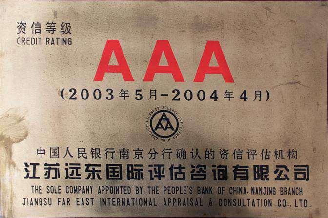 2003-2004年获得AAA级资信等级证书